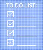 ToDo List on Blue Checked Sheet. Vector Illustration.