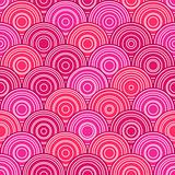 Red Pink Seamless Pattern with Circles in Line. Vector Illustration