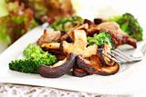 Roasted pork meat with shiitake mushrooms