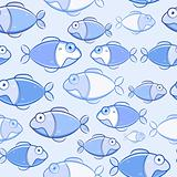 Light Blue Fish Seamless Pattern. Vector Illustration of Sea Life