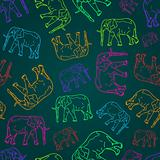 Seamless Pattern with  Elephant Silhouettes on Dark Background. Vector Illustration