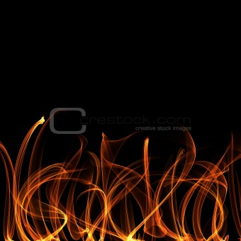 Flame Tongues at the Bottom on Balck Background