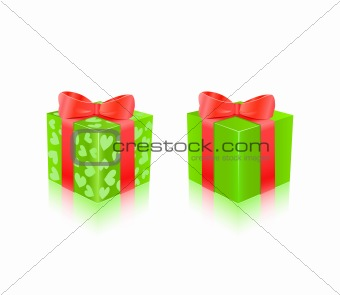 Green Gift Box With Red Ribbon. Vector Illustration