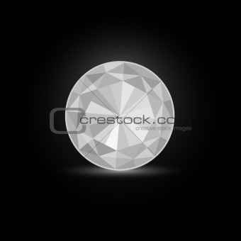 Round White Diamond Stone  on Black Background. Vector Illustration EPS8