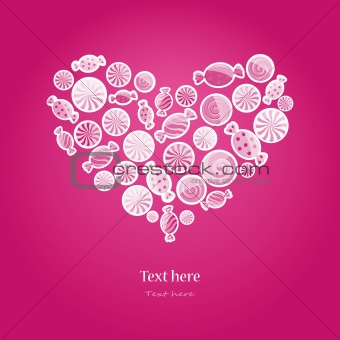 magenta pattern with sweet candy. Vector illustration in heart shape on dark background.