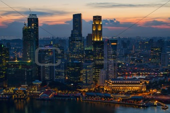 Sunset Over Singapore City Skyline