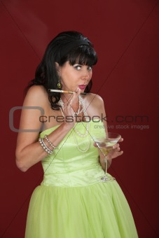 Woman With Cigarette and Martini