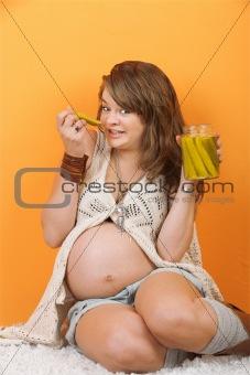 Pregnant Lady Eats Pickles