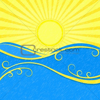 Background with Sea Waves and Yellow Sun. Vector Vintage Illustration of Sea Landscape