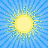 Yellow Sun on Grunge Blue Striped Card. Vector Illustration