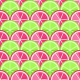 Seamless Pattern with Grapefruits and Limes in Straight Order