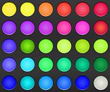 Colorful Makeup Palette of Eye Shadows. Close Up View. Vector Illustration