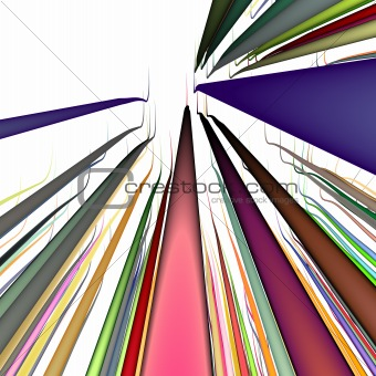 3d multiple wavy wire lines in  bright colors on white