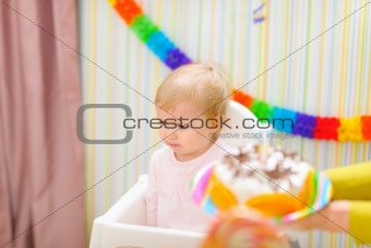 Upset baby on celebration of first birthday