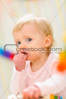 Portrait of eat smeared baby
