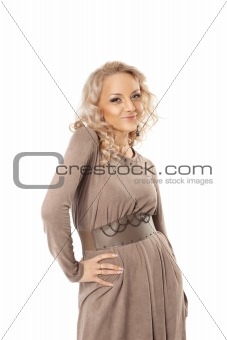 Beautiful blond woman portrait isolated