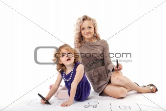 Happy mother and child smile isolated