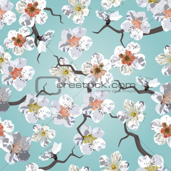 Sakura seamless pattern. Cherry blossoms in the sky. EPS 8 vector illustration