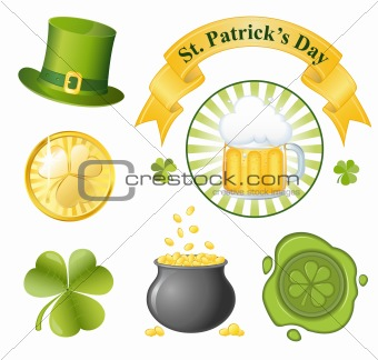 St. Patrick's Day icon set. EPS 8 vector illustration