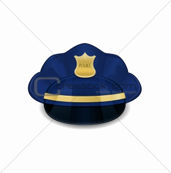 Bright Blue Policeman Hat Icon Isolated on White Background. Vector Illustration