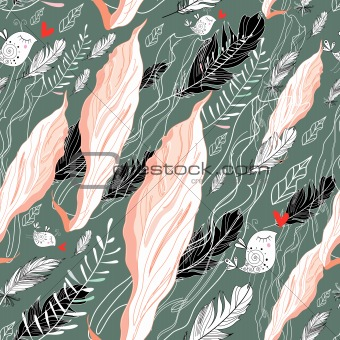pattern of tissue and feathers