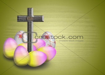 Cross INRI and easter egg
