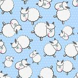 Cute White Sheeps Seamless Pattern on Light Blue Background