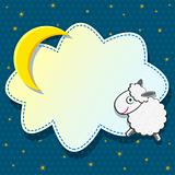 Cute Card with Sheep Clound and Moon on Blue Background. Vector