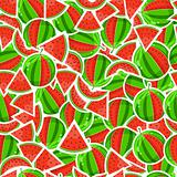 Juicy Watermelon and Sliced In Seamless Pattern