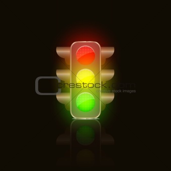 Bright Traffic Lamps on Dark Background.