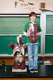 Boy with anatomical model