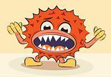cartoon funny angry bacillus