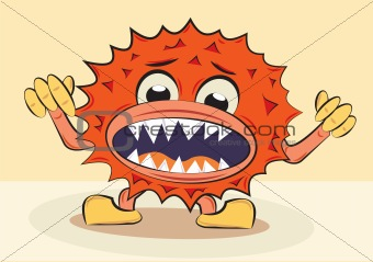 cartoon funny angry bacillus