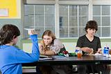 Teenagers in cafeteria