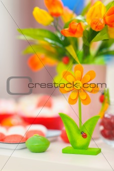Closeup on table decorated for celebration