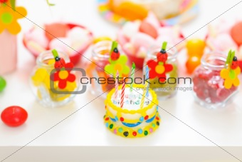 Closeup on table decorated for child birthday celebration