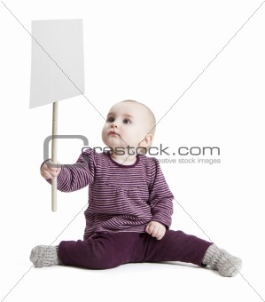 toddler holding sign