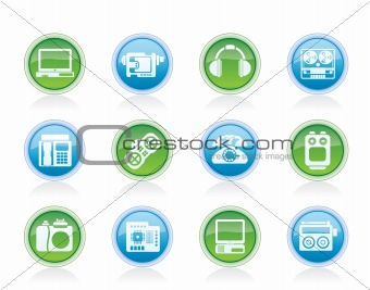 electronics, media and technical equipment icons