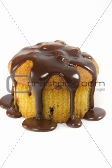 Delicous muffin with warm melted chocolate
