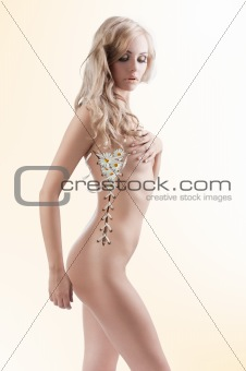 sexy creative shot girl with leaves