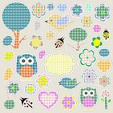 Nature textile stickers set