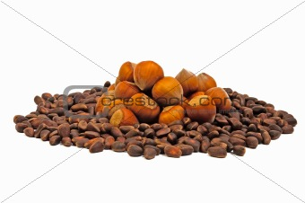 hazelnuts and pine nuts