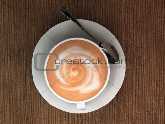 cappucino on wooden table