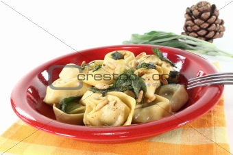 stuffed rocket-ricotta tortellini with sage butter