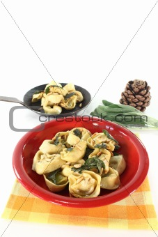 rocket-ricotta tortellini with sage butter