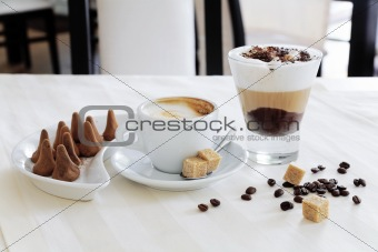 Appetizing coffee and sweets