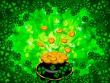 Pot of Gold on Shamrock Four Leaf Clover Background