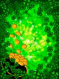 Pot of Gold on Shamrock Four Leaf Clover Background Vertical
