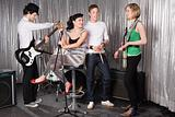 Rock band practising