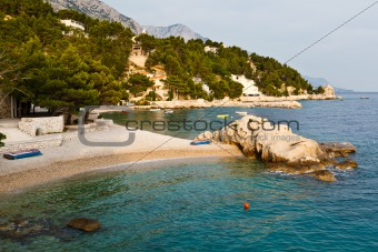 Adriatic Beach in Brela Village, Croatia